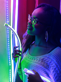 woman, neon, lights, smiling, happy, female, lady, person, glow, fashion, pose, portrait, art, creative, design, colorful