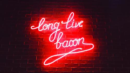 dark, night, light, store, restaurant, bacon, food, bar, red, dinner