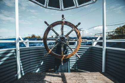 technology, transportation, steering wheel, rudder, yacht, boat, cruise, navy, patterns, perspective, nature, sky, clouds, water, sea, power, lines