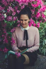 people, girl, woman, sitting, reading, book, alone, fashion, clothing, nature, plant, outdoor, flowers, petal, travel