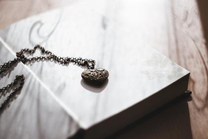 heart, necklace, old, steel, book, cover, pages, sheet, morning, light