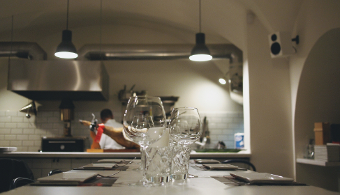 kitchen, restaurant, chef, cooking, table, glasses, plates, food