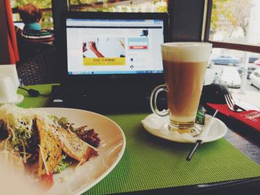 cafe, lunch, coffee, laptop, food, latte