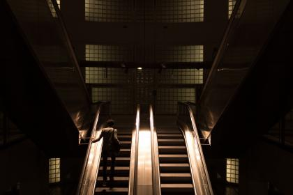 architecture, building, infrastructure, escalator,  establishment, dark, night, people, alone man, light