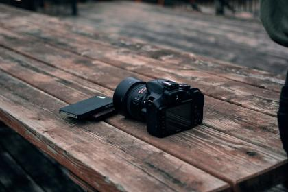 black, camera, dslr, photography, wooden, table, outdoor