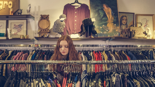 woman,  shopping,  clothes,  store,  browse,  shop,  rack,  charity,  community,  red hair,  person,  people,  female,  girl