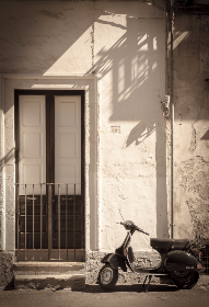 scooter,  door,  doorstep,  dolce vita,  italy,  sepia, vespa, vintage, transportation, house, home, stone, entrance, black and white, city, architecture, building