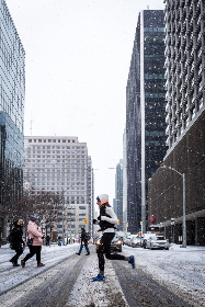 running,  urban,  exercise,  runner,  city,  street,  winter,  snowing,  traffic,  tall,  buildings,  female,  pedestrians,  lights,  cars,  snow,  windows