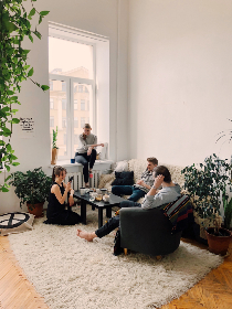 friends,  talking,  home,  house,  interior design,  man,  woman,  people,  smile,  mobile,  technology,  rug,  carpet,  couch,  minimal