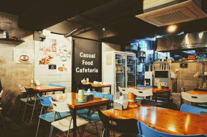 restaurant, store, cafeteria, table, chair, food, menu, board, inside, kitchen, refrigerator, electronic, appliances, light