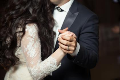 people, man, woman, groom, bride, holding hands, ring, dress, suit, dancing, wedding