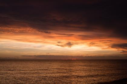 sea, ocean, water, wave, nature, sunset, view, horizon, clouds, sky