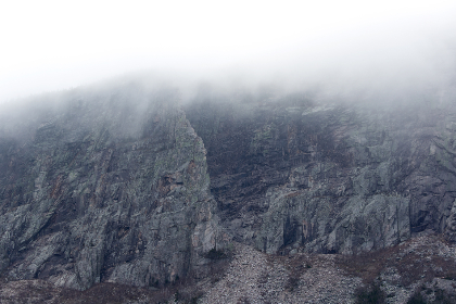 rocks,  cliff,  fog,  mountain,  landscape,  terrain,  climate,  nature,  outdoors,  environment,  weather,  mist,  clouds