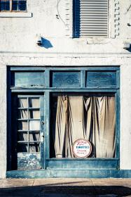vintage, old, store, curtain, aincient, blue, infrastructure