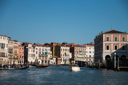 Venice, sea, boats, blue sky, buildings, city, architecture, travel, vacation, italy, europe