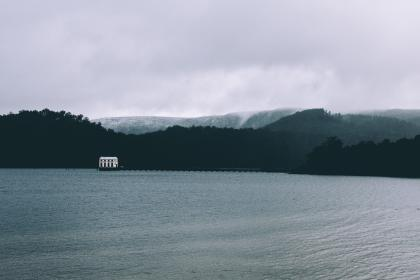 sea, ocean, water, waves, nature, foggy, mountain, landscape, outdoor, nature, view, dark, clouds, sky