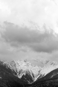 winter,  landscape,  mountains,  black and white,  sky,  clouds,  moody,  snow,  cold,  freezing,  trees,  forest,  outdoors,  nature,  hiking,  travel,  explore,  scenery