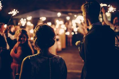 night, sparklers, celebration, people, guy, girl, crowd, evening, party, friends, wedding, bride, groom, group