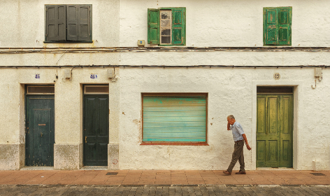 old,  man,  walking,  street,  city,  rustic,  mobile phone,  talk,  device,  technology,  architecture,  gree,  door,  window