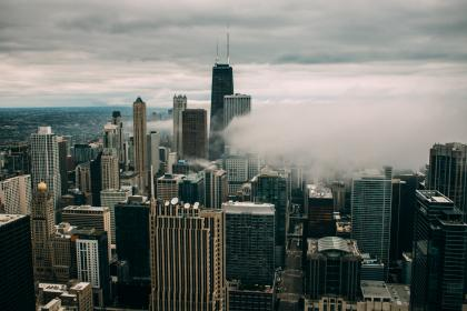 building, city, urban, architecture, structure, infrastructure, sky, clouds, skyline, aerial, smoke