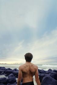 people, man, hunk, muscular, surf, waves, clouds, sky, beach, ocean, sea, rocks
