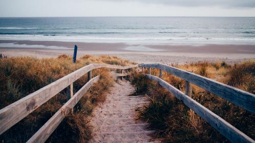nature, landscape, coast, beach, shore, water, sand, sky, clouds, horizon, plants, grass, vegetation, path, stairs, wood, baluster
