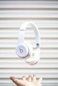headphones, music, song, foam, white, beats, hand, wal