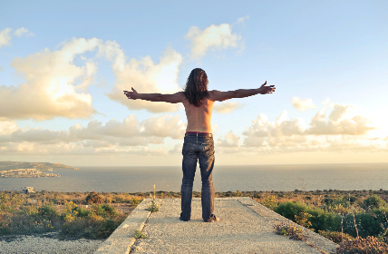 freedom,  man,  outdoors,  blue,  sky,  jeans,  topless,  arms,  embrace,  happy,  nature