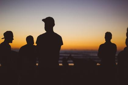 people, guys, friends, beach, sunset, sky, dark, cap, silhouette