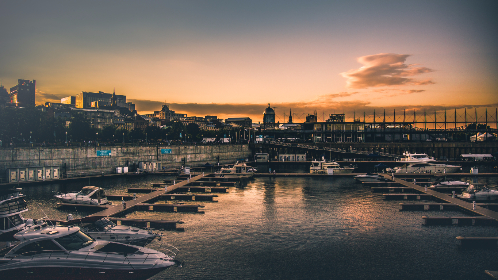 city,  port,  town,  old city,  old town,  dock,  boats,  motorboats,  boat,  docks,  pier,  Montreal,  sunset
