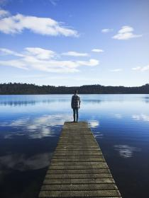 dock, pier, lake, water, guy, man, people, landscape, nature, outdoors, trees, sky, clouds, reflection