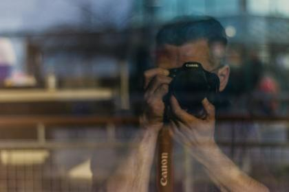 people, man, guy, camera, alone, photo, lens, photographer, canon, window, glass, reflection, blur