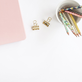 cup,  flat lay,  clips,  pencils,  pastel,  copyspace,  blank,  top,  overhead,  background, stationery, desk, simple, minimal