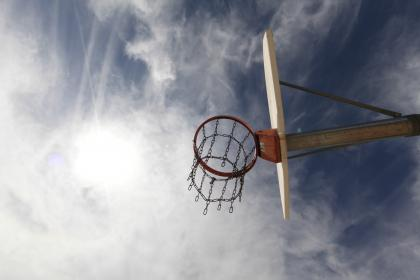 basketball, hoop, net, chain, sky, clouds, sports, sport, fitness