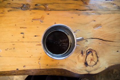 coffee,   espresso,  rustic,   cabin life,   kitchen,   wood counter,  coffee cup,   black coffee