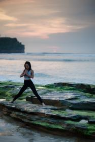 sea, ocean, water, waves, nature, coast, rock, people, girl, woman, health, yoga, meditation, fitness, outdoor, cloud, sky, athlete
