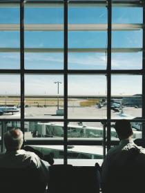 people, men, airport, waiting, building, business, trip, travel, window, glass, sky