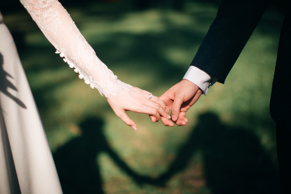wedding,  bride,  groom, holding hands, hands,  man, woman, people, celebration, romantic, love, happy, ring, suit, dress, white
