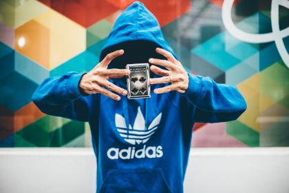 people, man, cards, anonymous, hoodie, jacket, adidas, magic, game