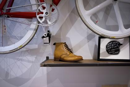 shoes, shoelace, brown, leather, design, art, bike, frame, table, bicycle