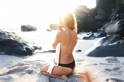 sea, ocean, water, wave, nature, beach, coast, people, white, sand, woman, girl, female, sexy, back, swimsuit, swimming, rock, mountain, beauty, sunrise, summer
