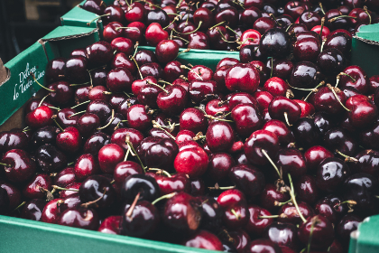 cherries, red, dark, fruits, food, healthy, box, market