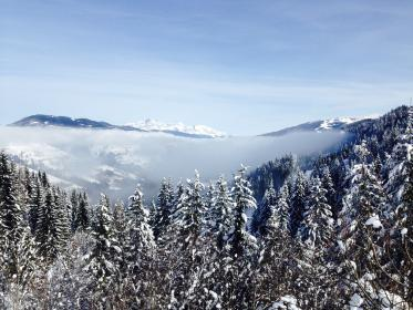 blue, sky, clouds, mountain, highland, valley, trees, plants, nature, snow, cold, winter