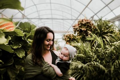 people, mother, child, baby, infant, kid, toddler, woman, green, plants, garden, outside