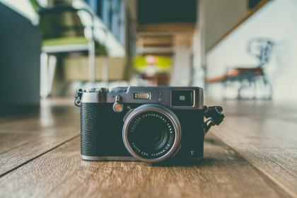 camera, lens, accessory, photography, office, blur, wooden, table