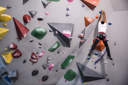 indoors,   rock,   climbing,   person,   sport,   exercise,   fitness,   fun,   wall,   ropes,   athlete,  hanging,  man,  challenge,  activity