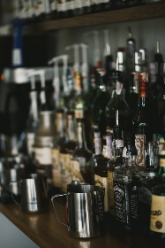 bar,  whisky,  drink,  whiskey,  alcohol,  wine,  glass,  bottle,  counter,  restaurant