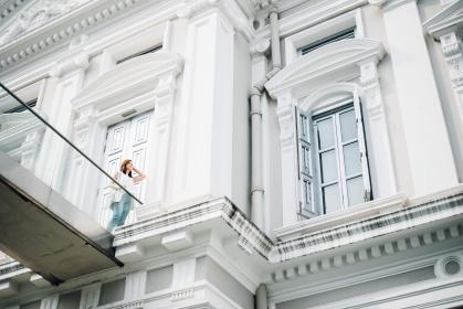 woman, building, white, fashion, infrastructure, building, structure, architecture, alone, solo, windows, door, people