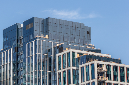 tall,   building,   city,   downtown,   windows,   architecture,   glass,   style,   exterior,   office,   business,  sky,  reflection,  construction