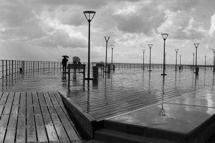 black and white, boardwalk, seashoe, beach, ocean, landscape, clouds, sky, outdoor, pier